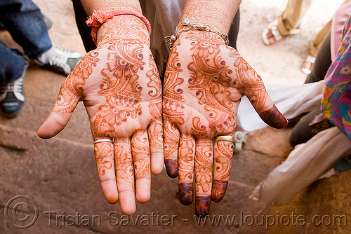 hands with mehndi - henna temporary tattoo (india)