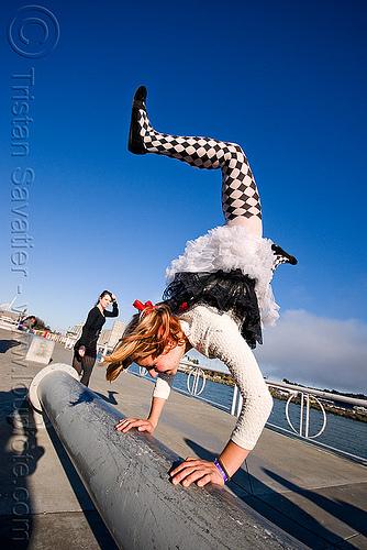 handstand - catie - superhero street fair (san francisco), catie, handstand, islais creek promenade, superhero street fair, woman