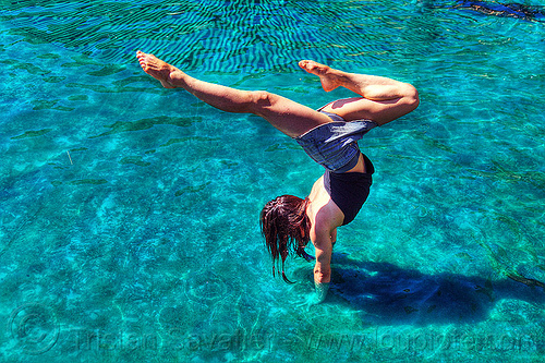 handstand in pool, handstand, pond, spring training, swimming pool, upside-down, woman
