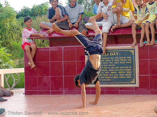 handstand - kid break-dancing - vietnam, boys, break dance, break dancing, children, communism, handstand, kids, memorial, monument, phan thiet, victory, vietnam