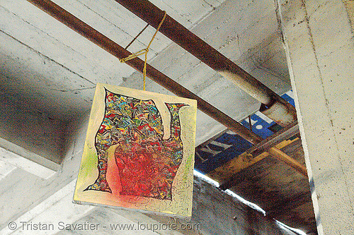 hanging art in abandoned factory, abandoned factory, art, derelict, hanging, industrial, tie's warehouse, trespassing