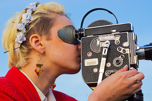 hanna mace shooting a movie with a 16mm camera, 16mm camera, blonde, bolex, camera operator, dolores park, film camera, film making, hannah, motion picture camera, movie camera, woman