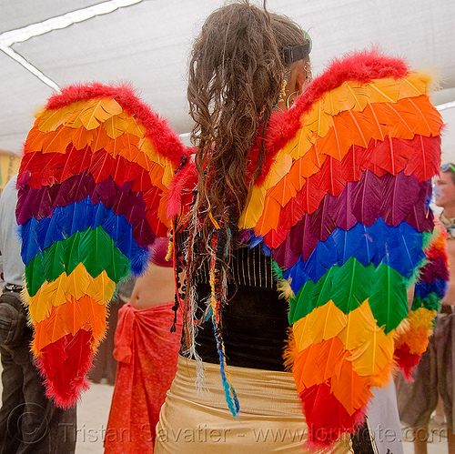 hannah the rainbow angel - burning man 2009, angel wings, burning man, feathers, hannah, rainbow angel, rainbow colors, woman