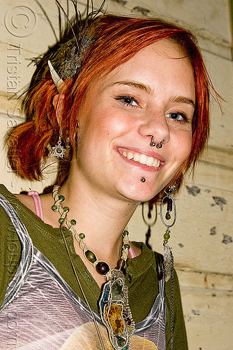 hannah - young woman with read hair and tribal jewelry, earrings, hannah, jewelry, necklace, nose piercing, oakland, red hair, redhead, septum piercing, woman