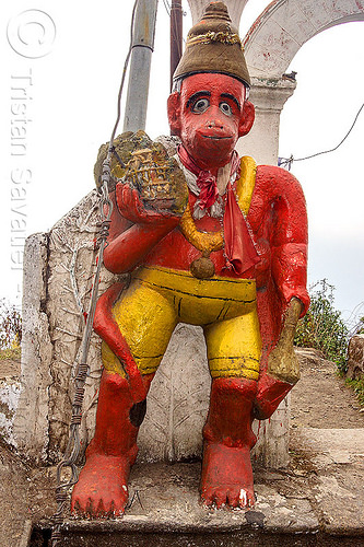 hanuman at small roadside hindu shrine (india), hanuman, hindu temple, hinduism, red, sculpture, shrine, statue, west bengal, yellow