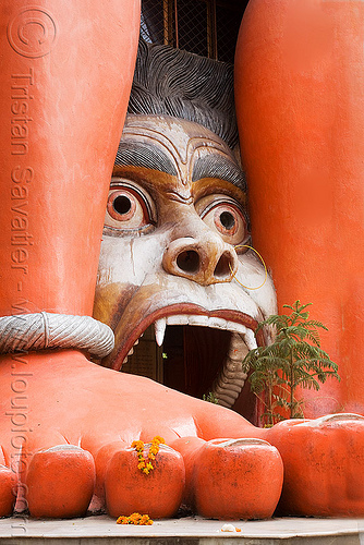 hanuman temple - delhi (india), delhi, fangs, foot, hanuman, head, hindu temple, hinduism, street, toes