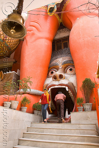 hanuman temple - delhi (india), bell, delhi, entrance, gate, hanuman, head, hindu temple, hinduism, mouth, red legs, stairs, street