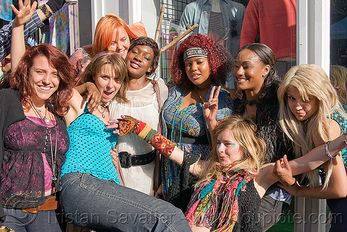 happy hippie girls, brittany, haight st, haight street, haight street fair, people, women