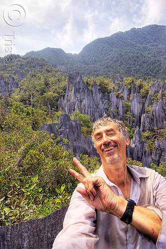 happy to have reached the mulu pinnacles (borneo), borneo, erosion, geology, gunung mulu national park, jungle, limestone, malaysia, man, peace sign, pinnacles, rain forest, rock, self-portrait, selfie