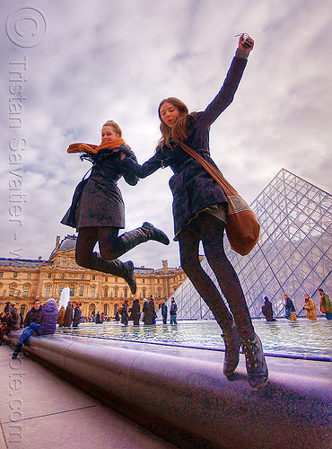 happy tourists at le louvre museum (paris), clouds, crowd, fountain, hayley, jump shot, people, pyramid, scarf, sophie, water, women