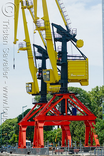 harbor cranes, buenos aires, harbor cranes, harbour crane, level luffing cranes, portainers, puerto madero, red, two, yellow