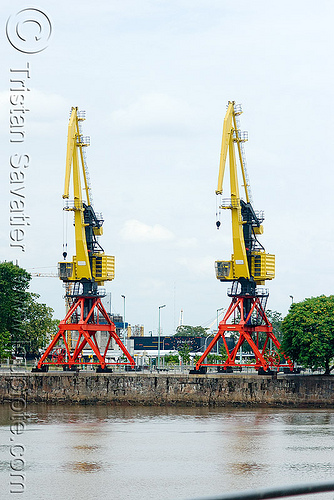 harbor cranes - puerto madero harbor (buenos aires), argentina, buenos aires, harbor cranes, harbour crane, level luffing cranes, portainers, puerto madero, red, yellow