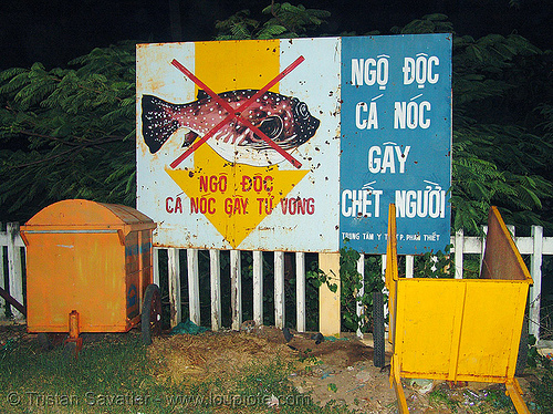 hazard sign - this fish is poisonous! - vietnam, poisonnous fish, warning sign