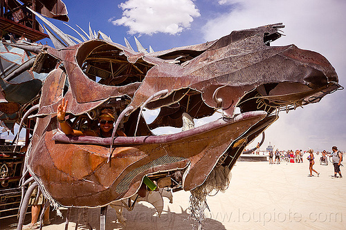 head of the gon kirin dragon art car, burning man, dragon art car, gon kirin art car, head, mouth, sarah, woman