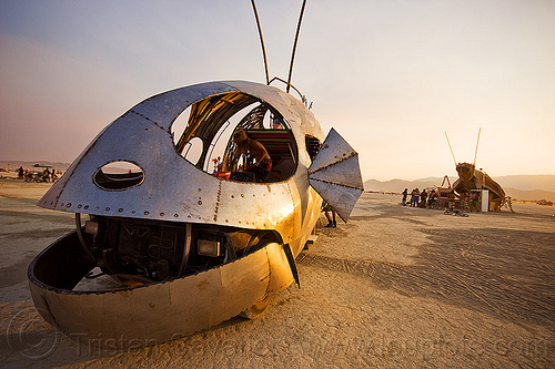 head of pilot fish art car - burning man 2013, dr harry adelson, pilot fish art car