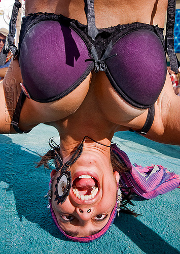 head stand, bra, center camp, purple, screaming, upside-down, woman