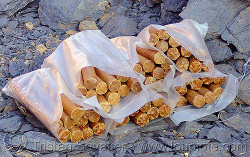 heap of real dynamite sticks (vietnam), blasting charges, drilling and blasting, dynamite blasting, groundwork, road construction, roadworks, vietnam