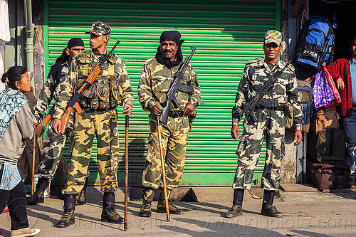 heavily armed indian security forces - darjeeling (india), ak-47, akm, armed, army, assault weapons, automatic weapons, batons, canes, closed, darjeeling, fatigues, guns, insas rifles, men, military, shop, soldiers, store, street, uniform, woman