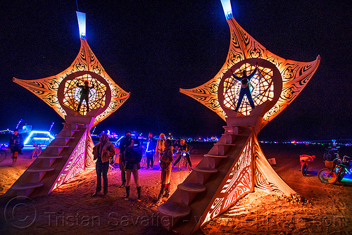 helios - burning man 2016, art installation, burning man, glowing, helios, night