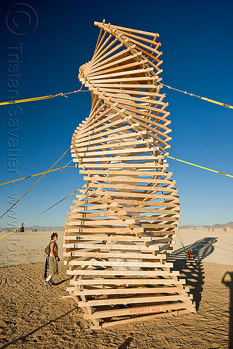 helix spire - tower - burning man 2010, abstract, burning man, helix spire, people, sculpture, spiral, tower, wooden