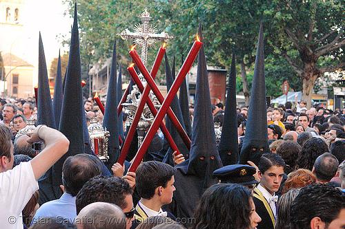 hermandad de la pasión - semana santa en sevilla, andalucía, candles, capirotes, cofradía, easter, hermandad de la pasión, nazarenos, parade, pasión, people, procesión, procession, religion