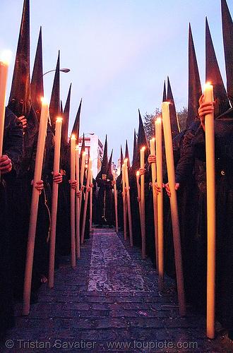hermandad de la pasión - semana santa en sevilla, andalucía, candles, capirotes, cofradía, easter, hermandad de la pasión, nazarenos, night, parade, procesión, procession, religion, semana santa, sevilla