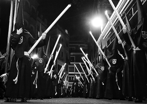 hermandad de la pasión - semana santa en sevilla, andalucía, candles, capirotes, cofradía, easter, hermandad de la pasión, nazarenos, night, parade, pasión, people, procesión, procession, religion
