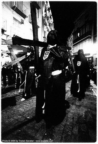 hermandad de la pasión - semana sevilla, andalucía, capirotes, carrying, cofradía, cross, crosses, easter, hermandad de la pasión, nazareens, nazarenos, night, parade, procesión, procession, religion, semana santa, sevilla