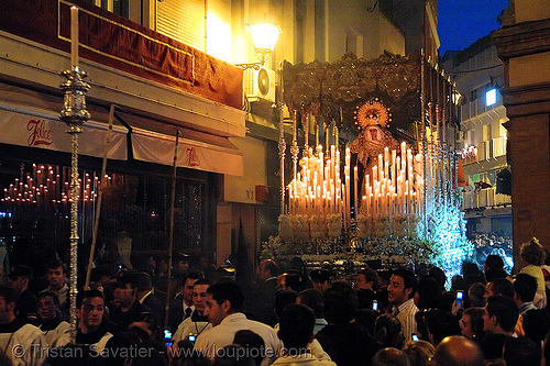 hermandad de la sed - semana santa en sevilla, candles, easter, float, hermandad de la sed, madonna, night, paso de la virgen, red, sacred art, semana santa, sevilla