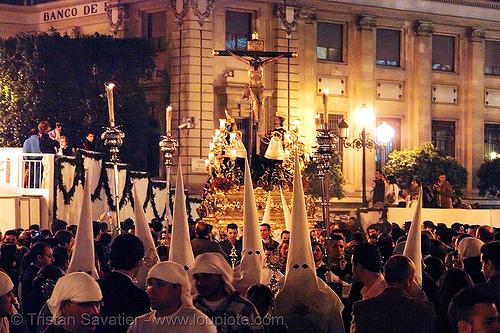 hermandad de las siete palabras - semana santa en sevilla, andalucía, candles, capirotes, cofradía, easter, nazarenos, night, parade, people, procesión, procession, religion