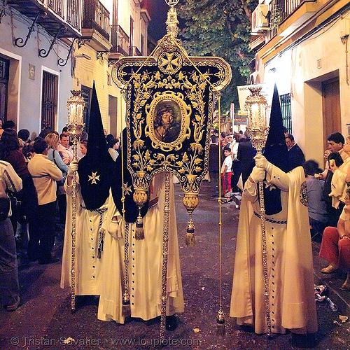hermandad de monte-sión - semana santa en sevilla, andalucía, candles, capirotes, cofradía, easter, hermandad de monte-sión, montesión, nazarenos, night, parade, procesión, procession, religion, semana santa, sevilla