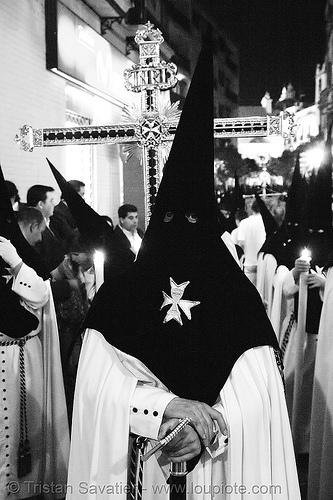 hermandad de monte-sión - semana santa en sevilla, andalucía, candles, capirotes, cofradía, easter, hermandad de monte-sión, maltese cross, montesión, nazarenos, night, parade, people, procesión, procession, religion, semana santa, sevilla