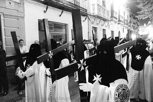 hermandad de monte-sión - semana santa en sevilla, andalucía, candles, capirotes, carrying, cofradía, easter, hermandad de monte-sión, holy cross, holy crosses, maltese cross, montesión, nazarenos, night, parade, procesión, procession, religion, semana santa, sevilla