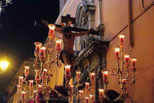 hermandad de san bernardo - semana santa en sevilla, andalucía, candles, capirotes, cofradía, easter, nazarenos, night, parade, people, procesión, procession, red, religion