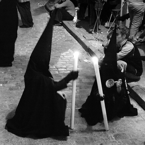 hermandad de san bernardo - semana santa en sevilla, andalucía, candles, capirotes, cofradía, easter, nazarenos, night, parade, people, procesión, procession, religion
