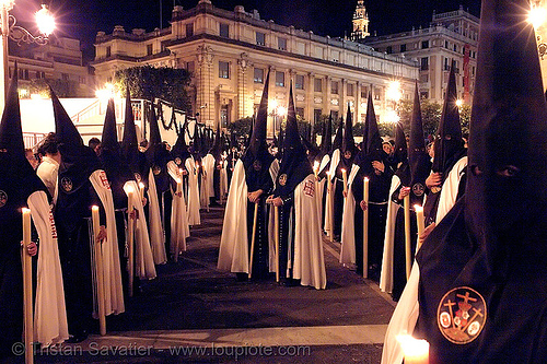 hermandad del museo - semana santa en sevilla, andalucía, candles, capirotes, cofradía, easter, el museo, hermandad del museo, nazarenos, night, parade, procesión, procession, religion, semana santa, sevilla