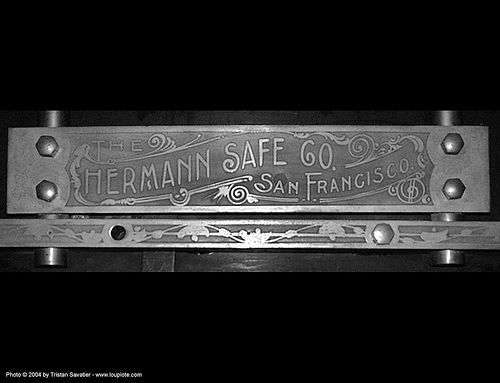 hermann safe co. - sf-old-mint, hermann safe co, hetching, san francisco old mint, steel