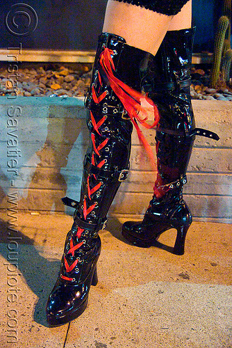 high heel boots with red laces, costume, halloween, legs, night, people