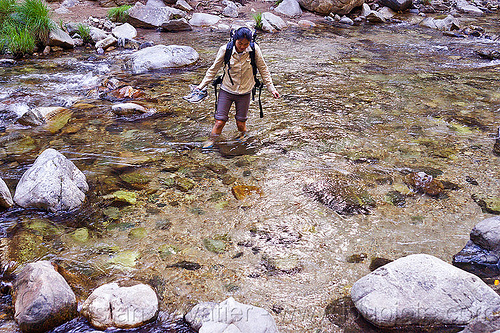 hiker fording a river (vantana wilderness), backpack, backpacking, big sur river, ford, fording, hiking, pine ridge trail, river bed, river crossing, rocks, stream, trekking, vantana wilderness, wading, walking, woman