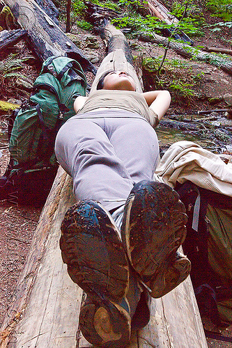 hiker resting on tree trunk (vantana wilderness), big sur, hiking, lying down, pine ridge trail, resting, shoes, tree trunk, trekking, vantana wilderness, woman