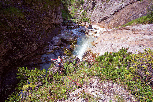 hiking to quellen buchweißbach near saalfelden (austria), austria, austrian alps, buchweißbach, creek, hiking, ladder, mountains, river, saalfelden, susi, via ferrata, woman