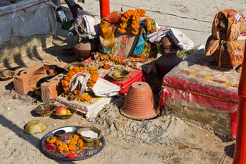 hindu altar with offerings (india), altar, ashram, flower offerings, hindu shrine, hinduism, kumbha mela, maha kumbh mela