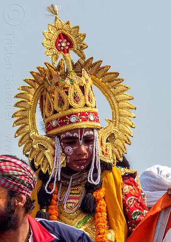 hindu boy with ceremonial hat - kumbh mela (india), beads, bindis, boy, golden, guru, hat, headdress, headwear, hearwear, hindu, hinduism, kumbh maha snan, kumbha mela, maha kumbh mela, mauni amavasya