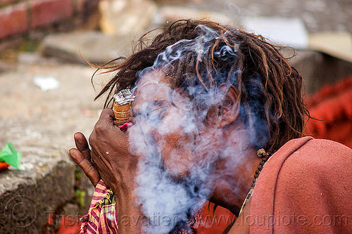 hindu devotee smoking a chillum of weed - ritual cannabis (nepal), baba, chillum, dreadlocks, ganja, hindu, hinduism, kathmandu, maha shivaratri, man, pashupatinath, sadhu, smoke, smoking, weed