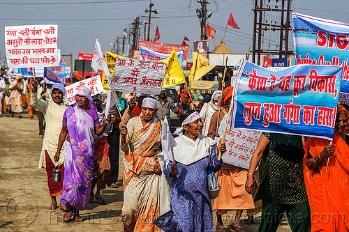 hindu devotees in street demonstration against dams and hydro projects on ganges river (india), crowd, demonstration, hindu, hinduism, kumbha mela, maha kumbh mela, protest, signs, street