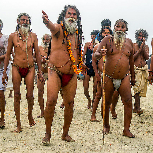 hindu devotees returning from holy dip in ganges river - kumbh mela (india), beard, hindu pilgrimage, hinduism, india, maha kumbh mela, men, ritual ropes, sacred threads, walking cane, walking stick, yajno pavitam