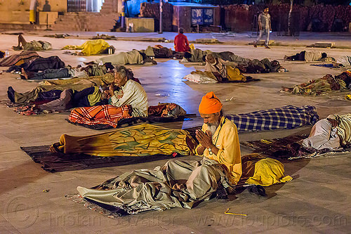 hindu devotees sleeping on triveni ghat - rishikesh (india), babas, blankets, crowd, ghats, men, night, rishikesh, sleeping, triveni ghat