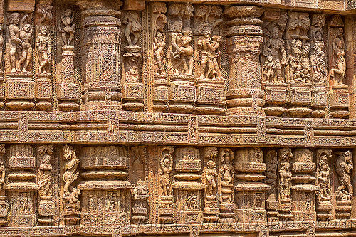 Hindu erotic high relief carvings konark sun temple india