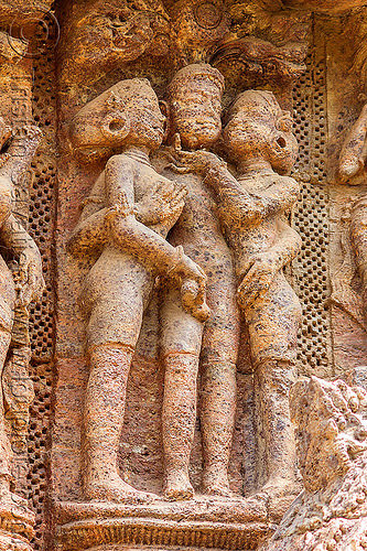 hindu erotic carving - konark sun temple (india), carving, erotic sculptures, high-relief, hindu temple, hinduism, konark sun temple, maithuna, stone