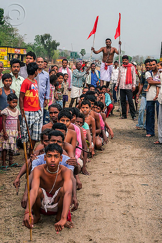 hindu festival - priest walking on sitting men's shoulders (india), festival, hinduism, men, ritual, sitting, walking